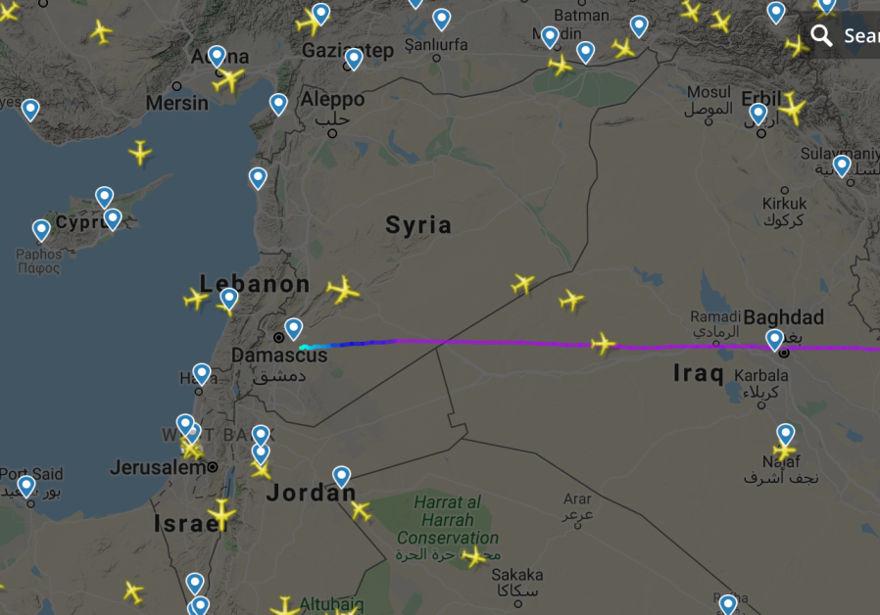 La trayectoria de vuelo del avión de carga iraní sospechoso que sale de Damasco justo antes de los ataques aéreos el 25 de diciembre de 2018. (Crédito de la foto: captura de pantalla)