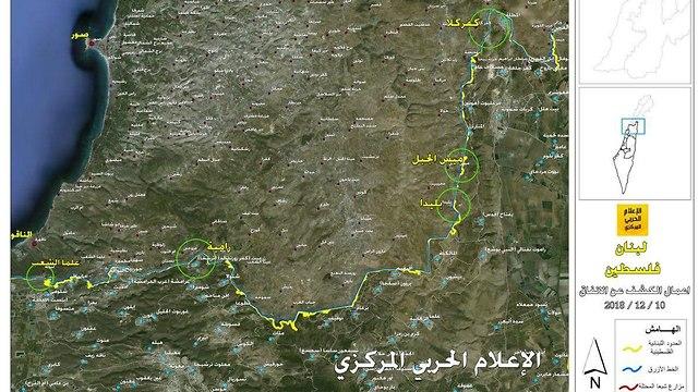 Mapa elaborando lugares exactos donde las fuerzas de las FDI están trabajando