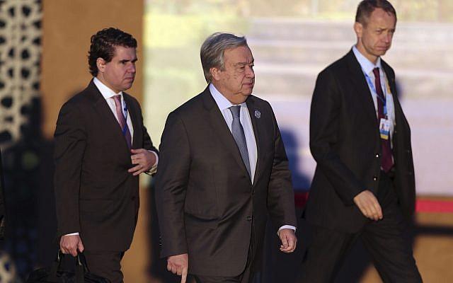 El secretario general de la ONU, Antonio Guterres, llega para asistir a una conferencia de migración de la ONU en Marrakech, Marruecos, el 10 de diciembre de 2018. (Mosa'ab Elshamy / AP)