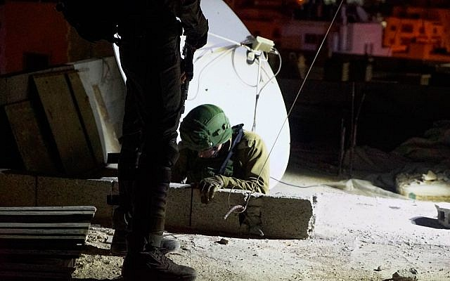 Mapa de las fuerzas de seguridad para demoler la casa del palestino que mató a un soldado de las FDI, visto aquí en el campamento de refugiados de Amari en Cisjordania, 2 de octubre de 2018. (Fuerzas de Defensa de Israel)