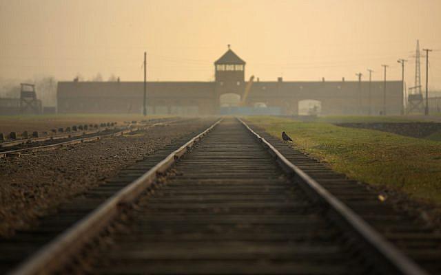 La vía férrea que conduce a la infame 'Death Gate' en el campo de exterminio de Auschwitz II Birkenau el 13 de noviembre de 2014 en Oswiecim, Polonia. (Christopher Furlong / Getty Images / via JTA)