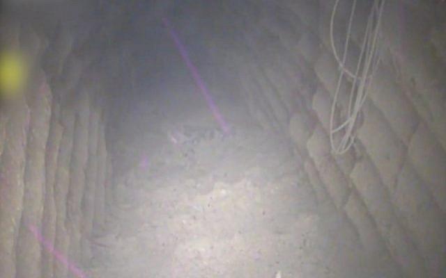 El interior de lo que Israel dice es un túnel de ataque excavado por el grupo terrorista Hezbolá que cruzó el territorio israelí desde el sur de la aldea libanesa de Kafr Kila, el 4 de diciembre de 2018. (Fuerzas de Defensa de Israel)