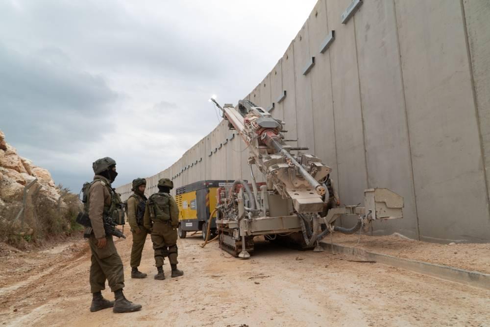 El ejército israelí perfora el suelo al sur de la frontera libanesa en un esfuerzo por localizar y destruir los túneles de ataque de Hezbolá que, según dice, entraron en territorio israelí, el 5 de diciembre de 2018. (Fuerzas de Defensa de Israel)