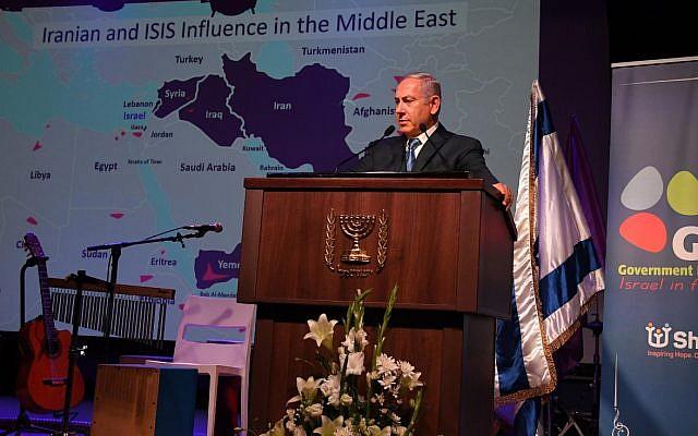 El primer ministro Benjamin Netanyahu habla a periodistas extranjeros en Jerusalén el 12 de diciembre de 2018. (Haim Zach / GPO)