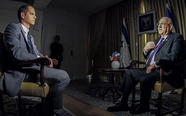 El presidente Reuven Rivlin durante una entrevista con CNN, 29 de noviembre de 2018. (GPO / Twitter)