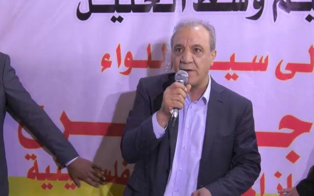 El jefe del Servicio de Inteligencia General de la Autoridad Palestina, Majed Faraj, habló en Hebrón el 11 de junio de 2018. (Captura de pantalla: Youtube)