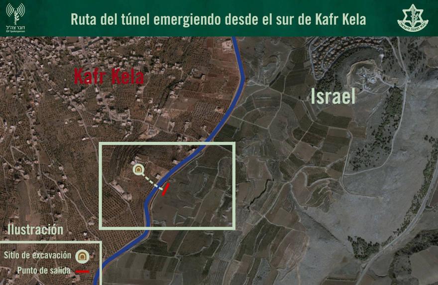 Mapa del túnel de Hezbollah cerca de Kfar Kila del Líbano. (Crédito de la foto: IDF SPOKESPERSON'S UNIT)
