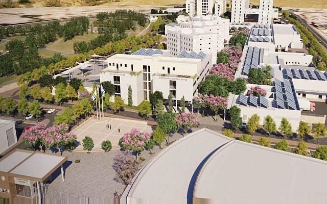 El campus tecnológico de las FDI, que se extiende sobre un área construida de 150,000 metros cuadrados, se erigirá en el parque tecnológico de Gav-Yam, cerca de la Universidad Ben-Gurion del Negev, en Beer Sheva. (Unidad de portavoz de las FDI)