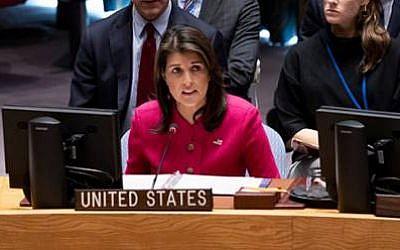 Nikki Haley habla en una reunión del Consejo de Seguridad de la ONU en el Medio Oriente el 19 de noviembre de 2018 (Cortesía)