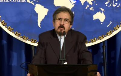 El portavoz del Ministerio de Relaciones Exteriores de Irán, Bahram Qasemi, informa a los periodistas en una conferencia de prensa en Teherán el 22 de agosto de 2016.  (captura de pantalla de YouTube)