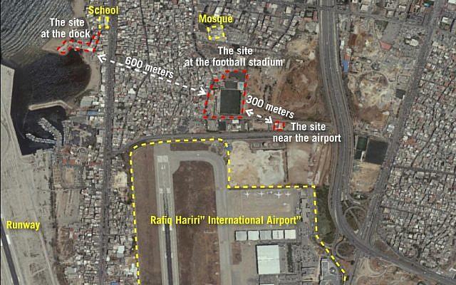 Una imagen de satélite lanzada por las Fuerzas de Defensa de Israel que muestra tres sitios cerca del aeropuerto internacional de Beirut que el ejército dice que están siendo utilizados por Hezbollah para convertir misiles regulares en municiones de precisión, el 27 de septiembre de 2018. (Fuerzas de Defensa de Israel)