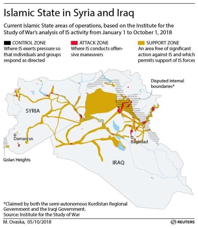 Ubicaciones de operaciones Estado Islámico en Irak y Siria. Reuters