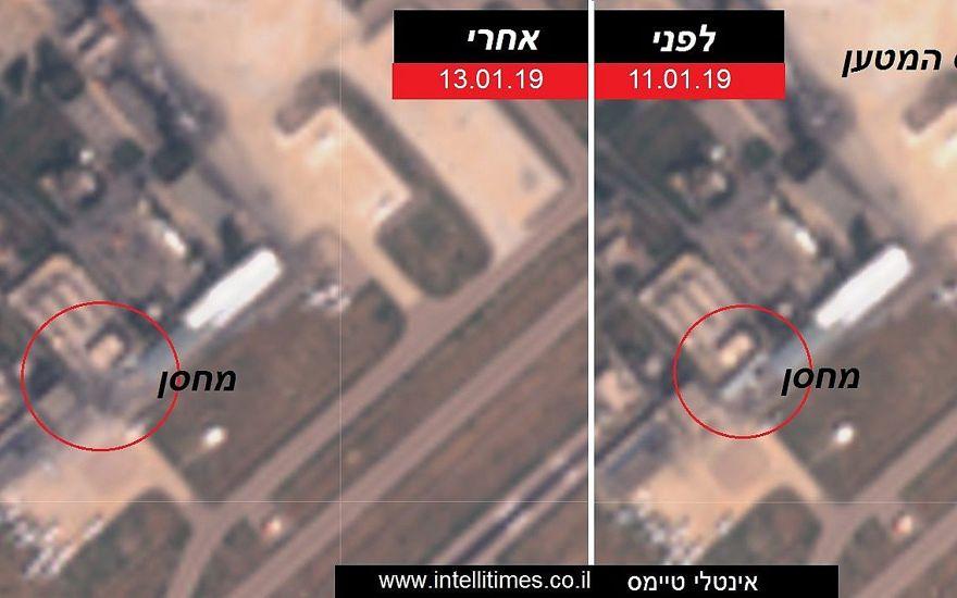 Fotografías satelitales publicadas el 13 de enero de 2019 que muestran un supuesto depósito de armas iraní en el Aeropuerto Internacional de Damasco en Siria (R) el 11 de enero, y la misma estructura fue demolida el 13 de enero después de un ataque aéreo israelí. (Intelli Times)