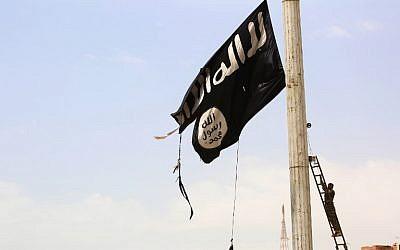 Ilustrativo. Un miembro de las Fuerzas Democráticas Sirias respaldadas por Estados Unidos que quita una bandera del Estado Islámico en la ciudad de Tabqa. (AFP Photo / Delil Souleiman)