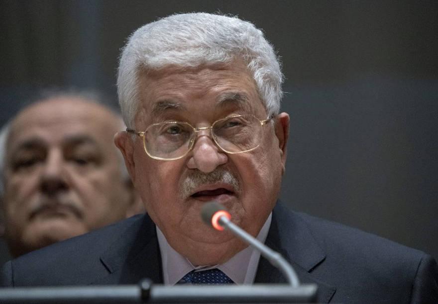 El presidente de la Autoridad Palestina, Mahmoud Abbas, se dirige al Grupo de los 77 el 15 de enero de 2019 en las Naciones Unidas en Nueva York (Don EMMERT / AFP)