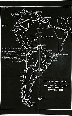 Un polémico 'mapa secreto' dividió a la América del Sur de la posguerra en cuatro territorios nazis. Su fondo en negro debido a la tecnología de mimeógrafo utilizada para crear esta copia que llegó a la Casa Blanca. (Biblioteca Presidencial Franklin D. Roosevelt)