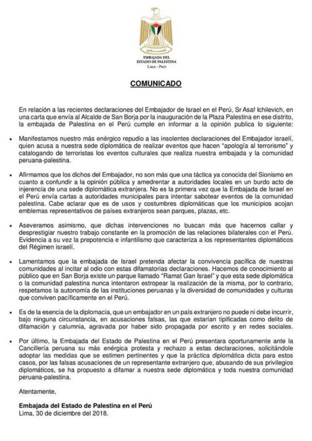 Comunicado de la Embajada palestina en el Perú.