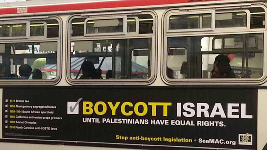 Anuncio de autobús en California llamando a boicotear a Israel