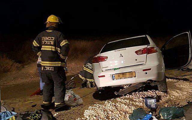 La escena de un accidente automovilístico mortal en el norte de Israel, 25 de enero de 2019 (servicios de bomberos y rescate)