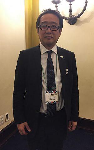 Akira Shisa de la firma japonesa IHI Corporation durante una visita a Israel; Jerusalén, 15 de enero de 2019 (Federico Maccioni / Tiempos de Israel)