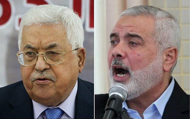 El presidente de la Autoridad Palestina, Mahmoud Abbas (izquierda) y el líder de Hamas, Ismail Haniyeh (Flash90, SAID KHATIB / AFP)