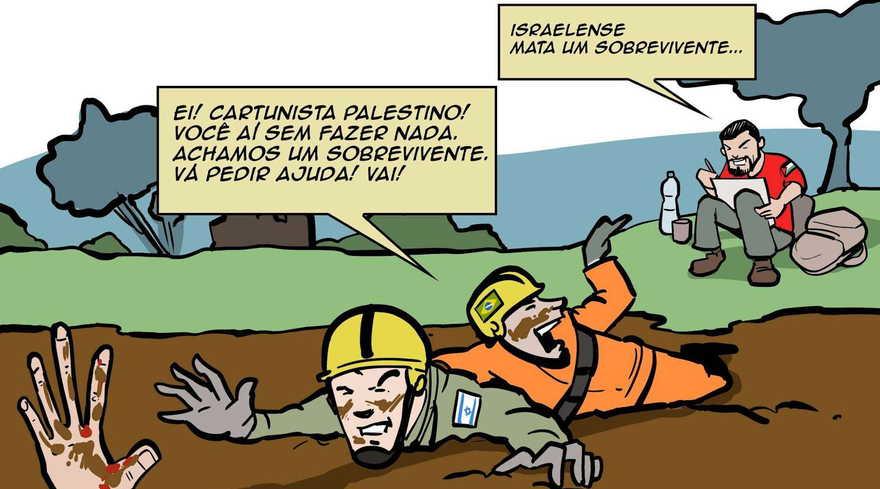 """Leandro Spett, un caricaturista judío brasileño, publicó un dibujo en respuesta al de Latuff, en el que un caricaturista palestino ve a un salvador israelí y escribe: """"Israel mata a un sobreviviente"""". (Leandro Spett vía JTA)"""