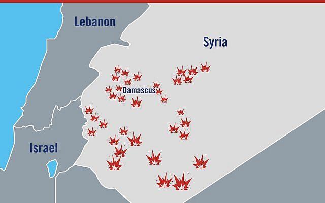 Un mapa ilustrativo que muestra las ubicaciones generales de los ataques israelíes en Siria en respuesta a un presunto ataque iraní en los Altos del Golán el 10 de mayo de 2018. (Fuerzas de Defensa de Israel)