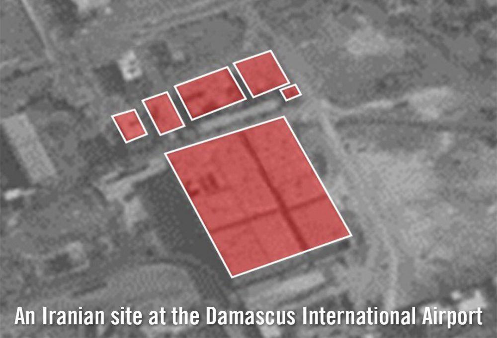 El ejército israelí libera imágenes satelitales de lo que dice que es un objetivo iraní en el Aeropuerto Internacional de Damasco que fue destruido en un ataque aéreo israelí el 21 de enero de 2019. (Fuerzas de Defensa de Israel)