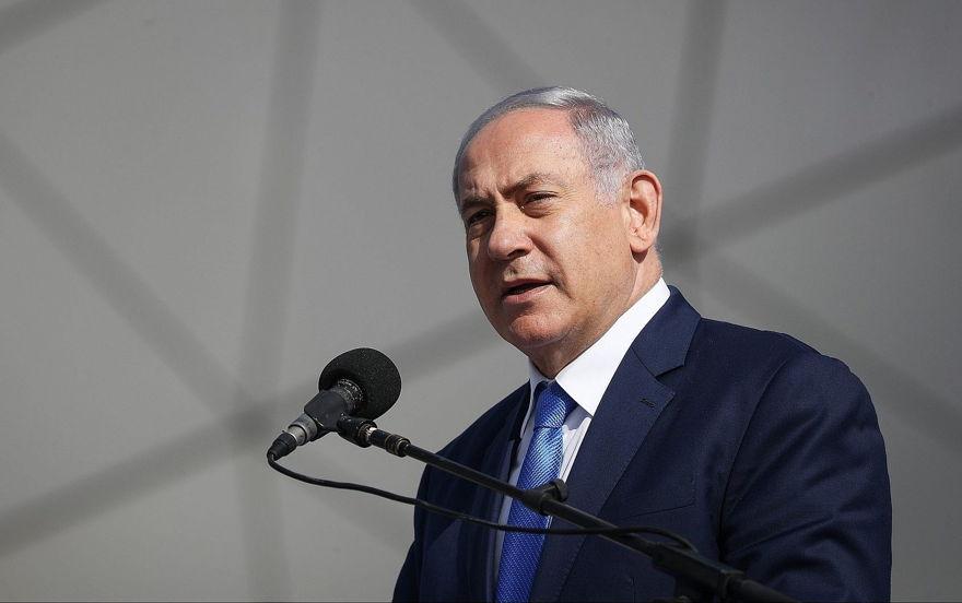 El primer ministro Benjamin Netanyahu habla durante la ceremonia de apertura del nuevo aeropuerto de Ramon, cerca de la ciudad sureña de Eilat, el 21 de enero de 2019. (Yonatan Sindel / Flash90)