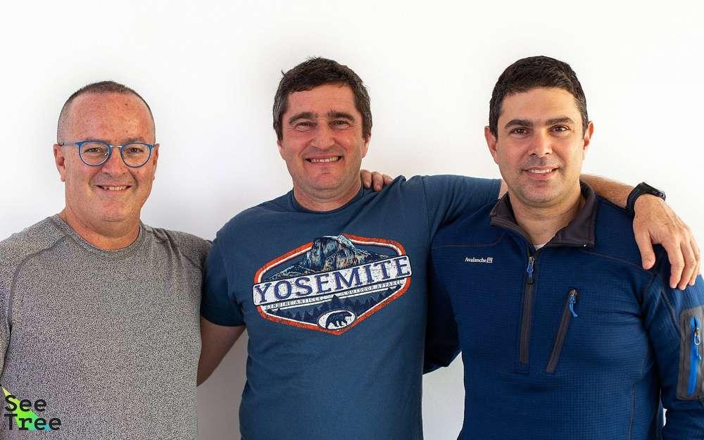 Fundadores israelíes de SeeTree: izquierda a derecha: Barak Hachamov, Israel Talpaz, Guy Morgenstern (Cortesía)