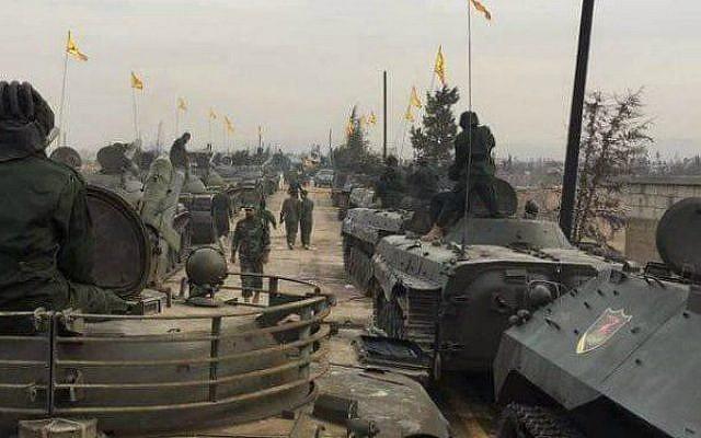 Hezbolá desfilando su equipo militar en Qusayr, Siria, noviembre de 2016. (Twitter)