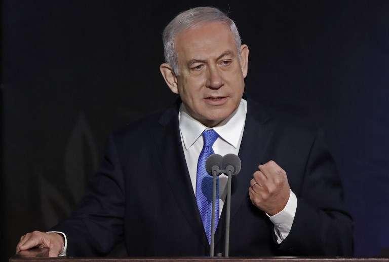 El primer ministro Benjamin Netanyahu habla durante una ceremonia de entrega del nuevo jefe de personal de las FDI el 15 de enero de 2019, en la sede del Ministerio de Defensa en Tel Aviv.(JACK GUEZ / AFP)