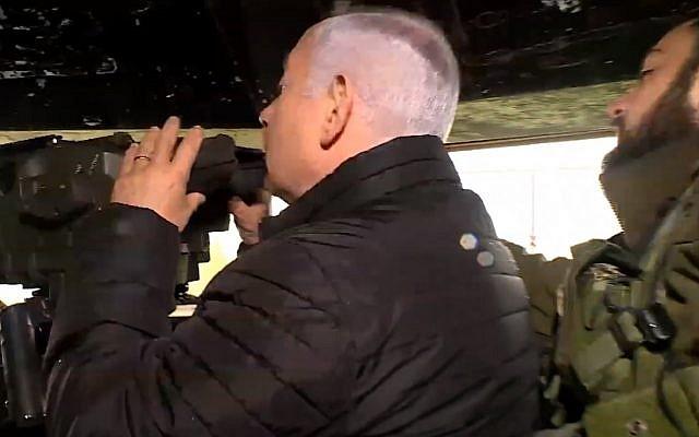 Captura de pantalla del video del primer ministro Benjamin Netanyahu, durante un recorrido por fuerzas militares en la frontera libanesa, 13 de enero de 2019. (GPO / YouTube)
