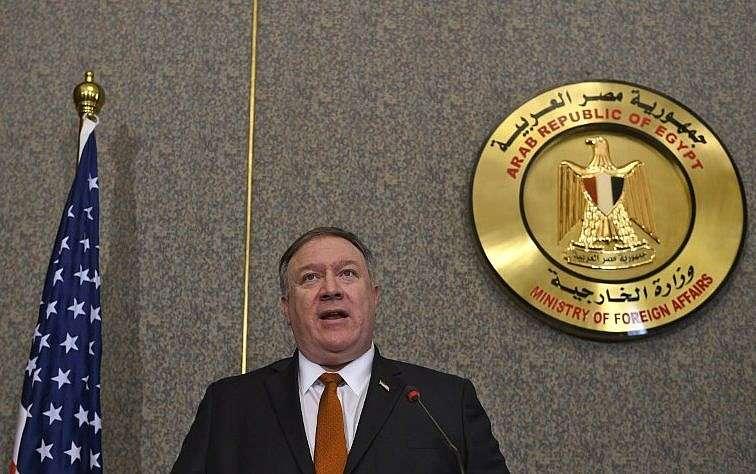 El secretario de Estado de los EE. UU., Mike Pompeo, del Ministerio de Asuntos Exteriores en El Cairo, el 10 de enero de 2019. (Andrew Caballero-Reynolds / Pool / AFP)