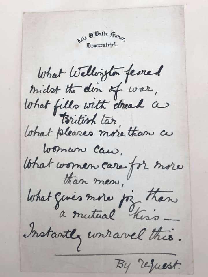 Riddle se encuentra en un álbum compilado por Lord George Augusta Hill, un aristócrata irlandés que se casó con dos de las sobrinas de la autora Jane Austen.El enigma está escrito en el papel de la hija de Hill, Norah (la sobrina-nieta de Austen).La familia Austen tenía la costumbre de compartir acertijos.(Renee Ghert-Zand / TOI, © Karen Ievers)