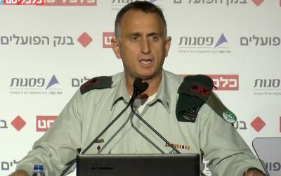 El jefe de inteligencia militar, mayor general Tamir Hyman, habla en la conferencia del periódico Calcalista en Tel Aviv el 31 de diciembre de 2018. (Captura de pantalla: Calcalista)