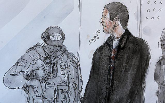 Un boceto de los artistas muestra a Mehdi Nemmouche, a la derecha, mientras está de pie junto a un agente de policía durante su comparecencia ante el tribunal en el Tribunal de Apelaciones de Versalles, 12 de junio de 2014. (Foto AP / Benoit P., archivo)