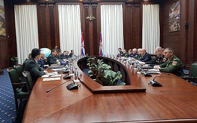 Las delegaciones militares israelíes y rusas se reúnen en Moscú, Rusia, 12 de diciembre de 2018 (Fuerzas de Defensa de Israel)