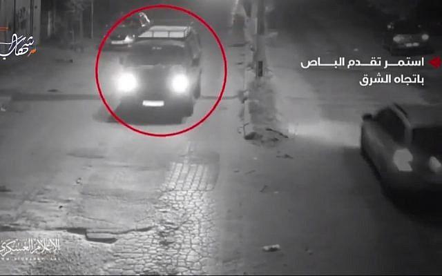 Un vehículo comercial en Gaza, Hamás, dijo que fue utilizado en una operación especial el 11 de noviembre de 2018 que salió mal. Captura de pantalla