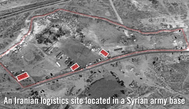 El ejército israelí libera imágenes satelitales de lo que dice que es un objetivo iraní en una base del ejército sirio cerca de Damasco que fue destruido en un ataque aéreo israelí el 21 de enero de 2019. (Fuerzas de Defensa de Israel)
