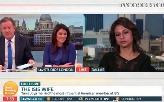 """Tania Joya es entrevistada en la televisión británica en enero de 2018. La entrevista terminó después de que ella dijo, de su ex marido, que todos tienen """"un lado bueno"""". (Daily Mirror Captura de pantalla)"""