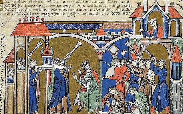 Ilustración de la Biblia Morgan de David del siglo XIII que lleva el Arca a Jerusalem (2 Samuel 6).(dominio público a través de wikipedia)
