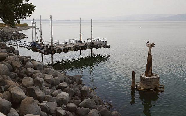 La foto muestra la disminución en el nivel de agua en el Mar de Galilea, 8 de octubre de 2018. (JACK GUEZ / AFP)