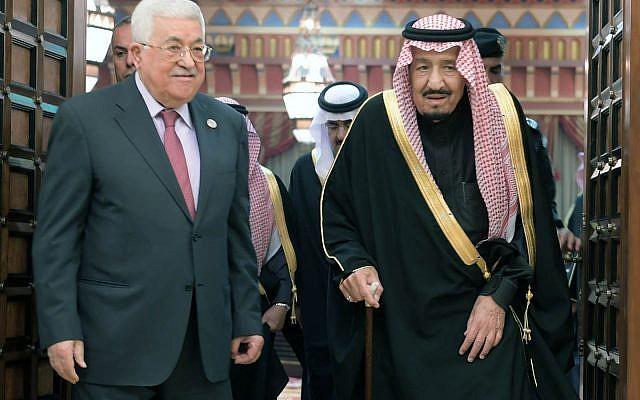 El presidente de la Autoridad Palestina Mahmoud Abbas y el rey saudí Salman en Riad el 12 de febrero de 2019. (Crédito: Wafa)