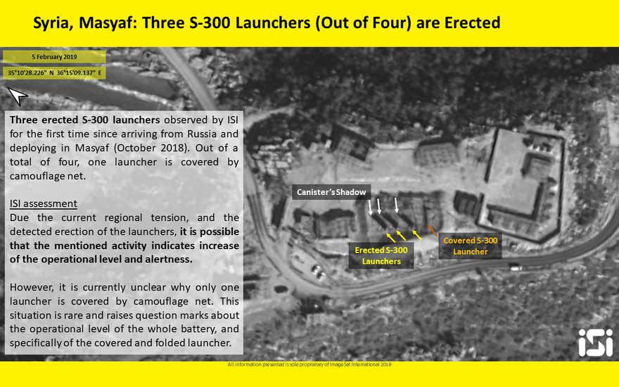 Las fotos satelitales publicadas por ImageSat International parecen mostrar tres de cada cuatro lanzadores de misiles del sistema de defensa aérea S-300 en la posición elevada en Masyaf el 5 de febrero de 2019. (ImageSat International)