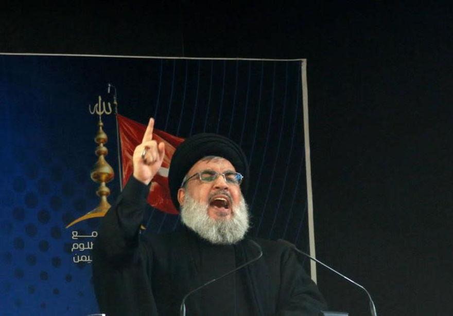 El líder de Hezbollah, Sayyed Hassan Nasrallah, pronuncia un discurso. (Crédito de la foto: REUTERS)