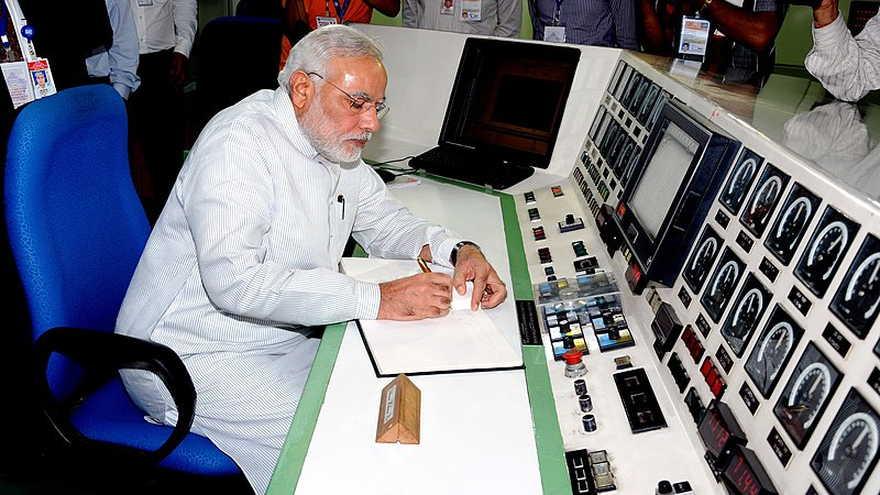 Narendra Modi en el centro de Investigación Bhabha en 2014