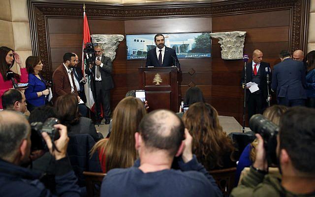 El recién designado primer ministro libanés, Saad Hariri, habla con periodistas en el palacio presidencial en Baabda, al este de Beirut, Líbano, el jueves 31 de enero de 2019. Las facciones políticas libanesas acordaron la formación de un nuevo gobierno, rompiendo un Punto muerto de nueve meses que solo profundizó los problemas económicos del país. (Foto AP / Hussein Malla)