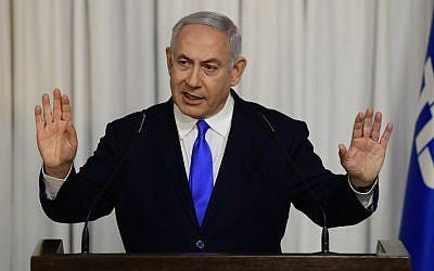 El primer ministro Benjamin Netanyahu da una declaración televisada después de una reunión de su partido Likud en Ramat Gan el 21 de febrero de 2019 (Tomer Neuberg / Flash90)