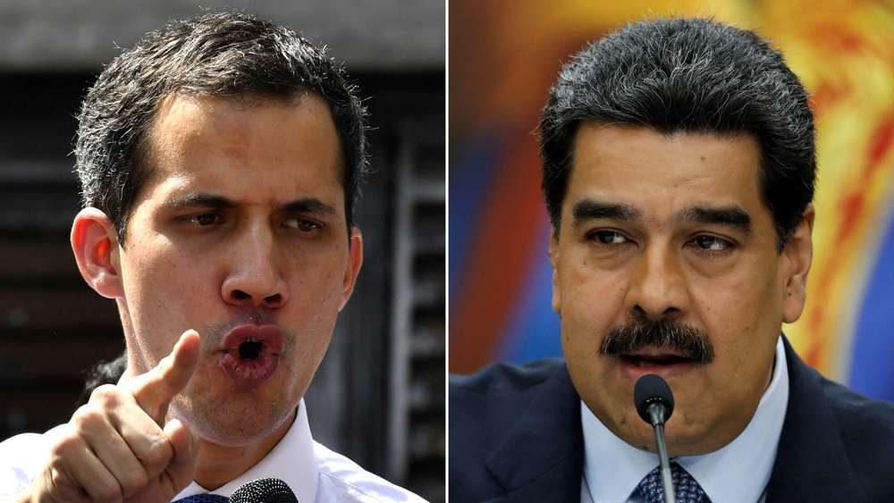 El líder opositor Juan Guaidó y el dictador venezolano Nicolás Maduro